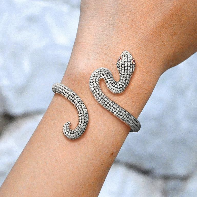 Ruby Diamond Snake Rose Gold Bangle Bracelet Cuff For Sale 2