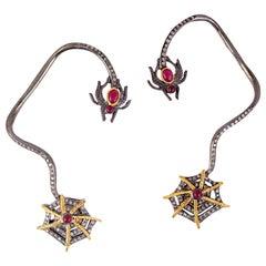 Ruby Diamond Spider Ear Cuff Earrings