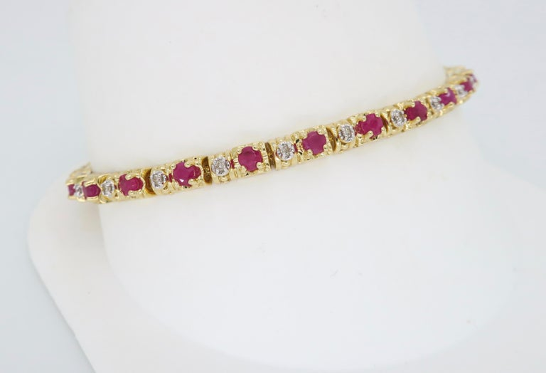 Ruby and Diamond Tennis Bracelet In New Condition In Webster, NY