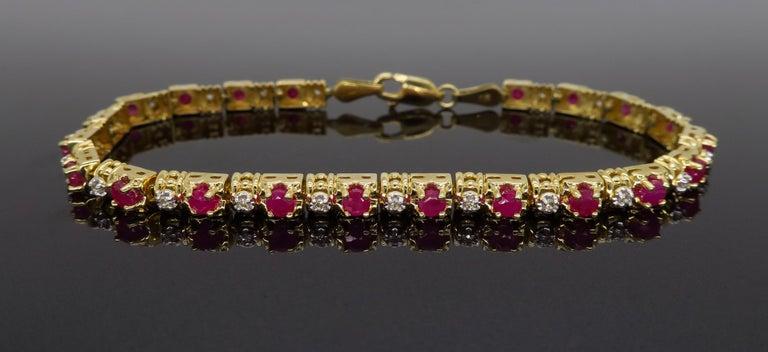 Women's or Men's Ruby and Diamond Tennis Bracelet