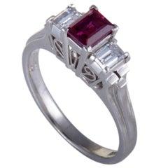 Ruby Diamond Three-Stone Platinum Ring