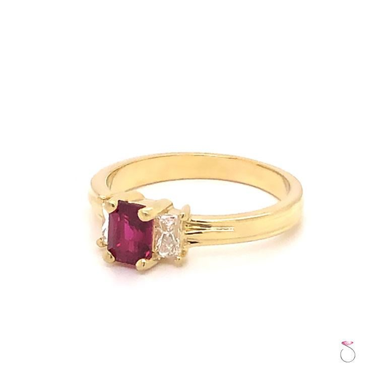 Modern Ruby and Diamond Three-Stone Ring in 18 Karat Yellow Gold For Sale