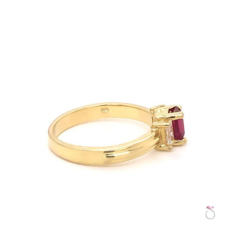Emerald Cut Ruby and Diamond Three-Stone Ring in 18 Karat Yellow Gold For Sale