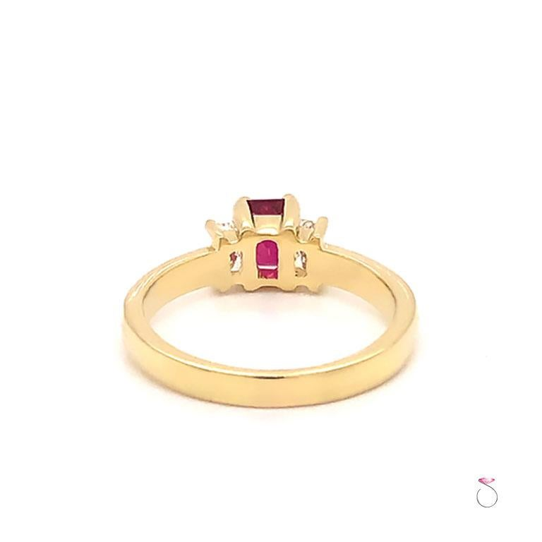 Women's Ruby and Diamond Three-Stone Ring in 18 Karat Yellow Gold For Sale