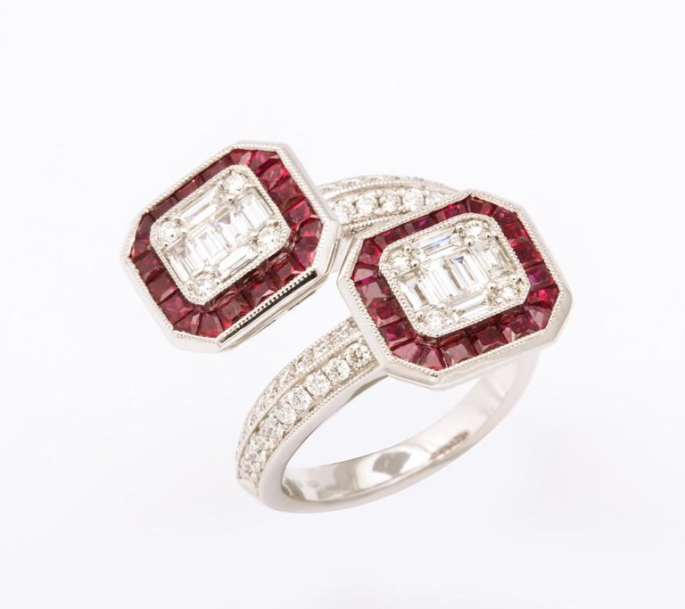 Ruby Diamond Twin Crossover Ring In New Condition In Bal Harbour, FL