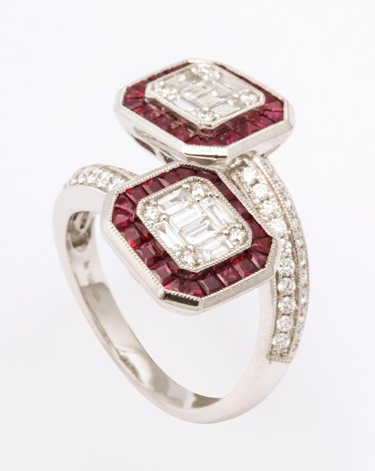 Women's or Men's Ruby Diamond Twin Crossover Ring