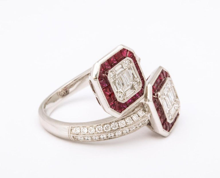 Ruby Diamond Twin Crossover Ring 2