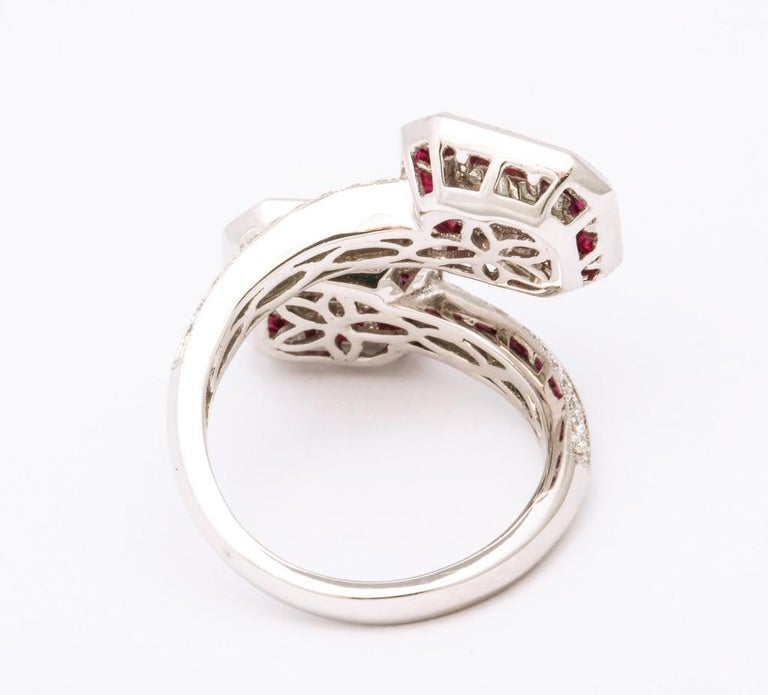 Ruby Diamond Twin Crossover Ring 3