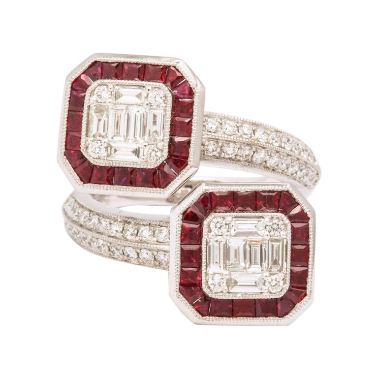 Ruby Diamond Twin Crossover Ring