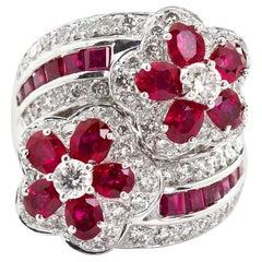 Ruby Diamond Twin Flower Ring, 9.00 Carat
