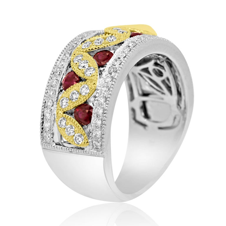 7 Ruby Round 0.66 Carat White diamond Round 0.60 Carat In 14K Yellow and White Gold Fashion Cocktail Band Ring.  Total Weight 1.26 Carat