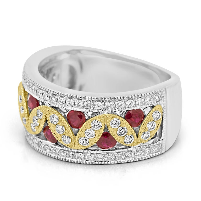 Modern Ruby Diamond Two-Color Gold Band Fashion Cocktail Ring For Sale
