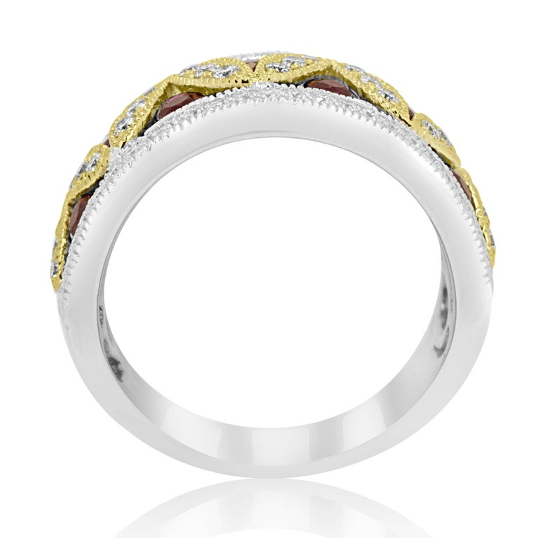 Round Cut Ruby Diamond Two-Color Gold Band Fashion Cocktail Ring For Sale