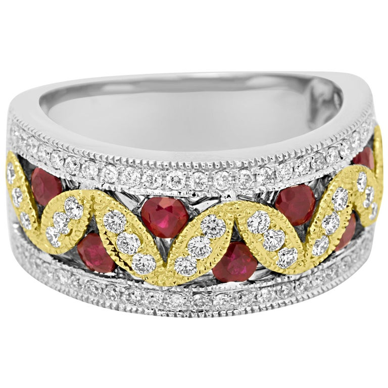 Ruby Diamond Two-Color Gold Band Fashion Cocktail Ring For Sale
