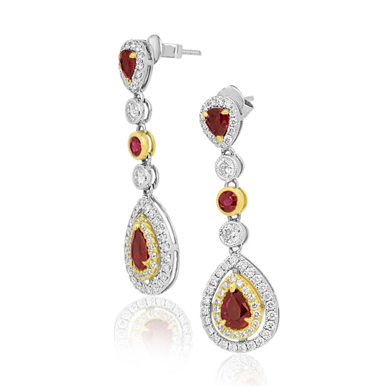 Modern Ruby Diamond Two-Color Gold Double Halo Dangle Drop Earrings For Sale