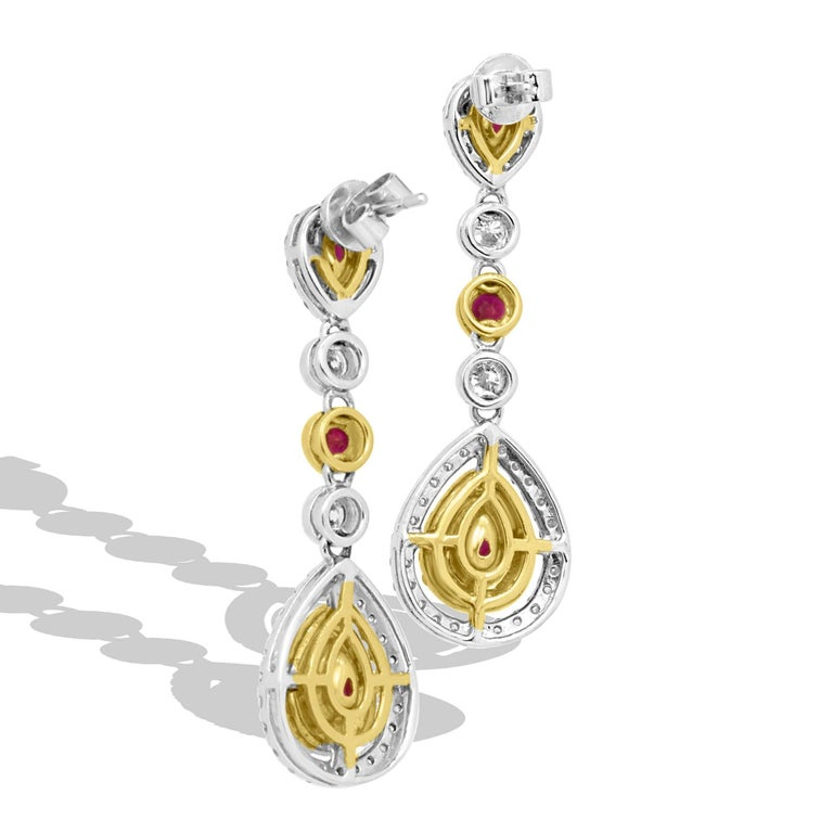 Ruby Diamond Two-Color Gold Double Halo Dangle Drop Earrings In New Condition For Sale In NEW YORK, NY