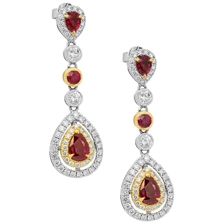 Ruby Diamond Two-Color Gold Double Halo Dangle Drop Earrings For Sale