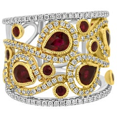 Ruby Diamond Two-Color Gold Fashion Cocktail Band Ring