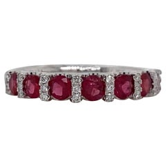 HARBOR D. Ruby Diamond Wedding Band 0.96 Carat 18 Karat White Gold