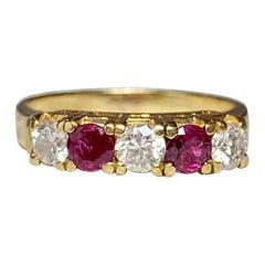 Ruby Diamond Wedding Engagement Band Ring 14 Karat Gold