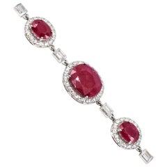 Ruby Diamond White Gold Bracelet