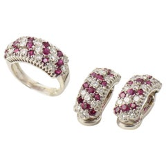 Ruby Diamond White Gold Huggie Clip-On Earrings and Ring Suite
