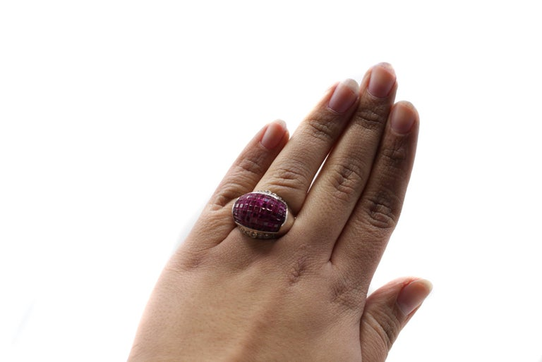 Contemporary Ruby Diamond Invisibly Set Dome White Gold Ring For Sale