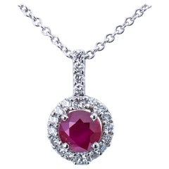 Ruby Diamond White Gold Pendant