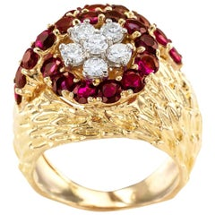 Ruby Diamond Yellow Gold Cluster Ring
