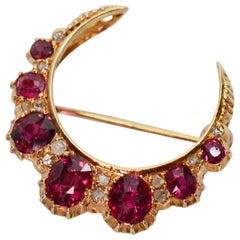 Ruby Diamond Yellow Gold Crescent Pin Brooch