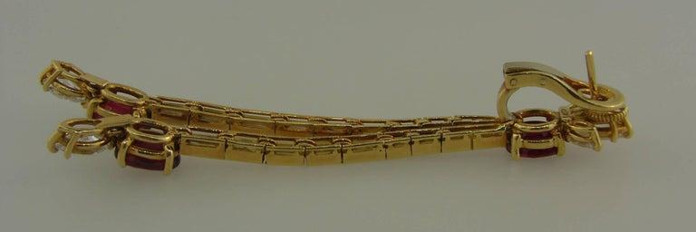 Women's Ruby Diamond Yellow Gold Dangle Earrings For Sale
