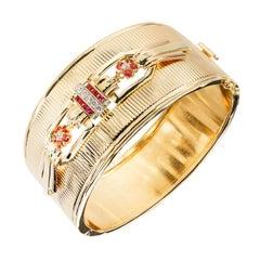 Ruby Diamond Yellow Gold Fluted Bangle Bracelet