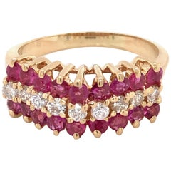 Ruby Diamond Yellow Gold Pyramid Ring