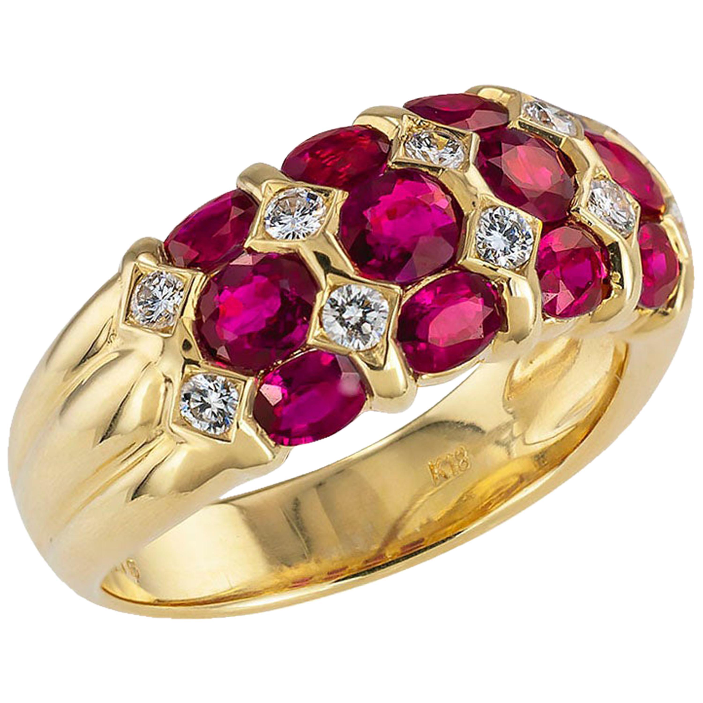 Ruby Diamond Yellow Gold Ring Band