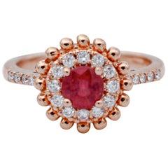Ruby, Diamonds, 18 Karat Rose Gold Ring