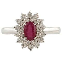 Ruby, Diamonds, 18 Karat White Gold Engagement Ring