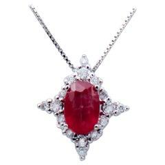 Ruby, Diamonds, 18 Karat White Gold Pendant Necklace