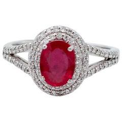 Ruby, Diamonds, 18 Karat White Gold Ring