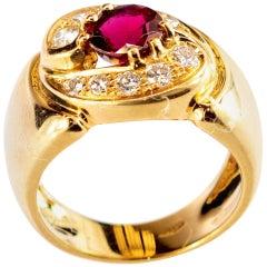 Ruby Diamond 18 Karat Yellow Gold Iconic Round Yin Yang Vintage Cocktail Ring
