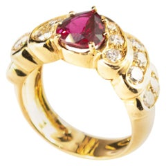 Ruby Diamond 18 Karat Yellow Gold Pear Cluster Legacy Woven Cocktail Ring