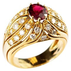 Ruby Diamond 18 Karat Yellow Gold Round Cluster Dome Legacy Vintage Ring