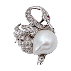 Ruby Diamonds Baroque Pearl, 14kt White Gold Swan Shaped Brooch/Pendant Necklace