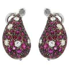 Ruby Diamonds Blue Sapphire 18 Karat Gold Made in Italy Earrings