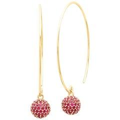 Ruby Disco Ball Earrings, Gold, Ben Dannie