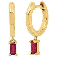 Ruby Drop Huggie Earrings, Gold, Ben Dannie
