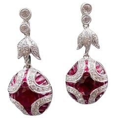 Art Deco Ruby and Diamond Earring with Invisible Setting, in 18K White Gold