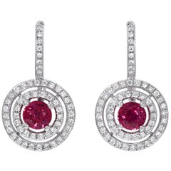 Ruby Earrings Rounds 1.21 Carats