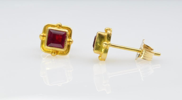 Emerald Cut Ruby Earrings 18 Karat Yellow Gold For Sale