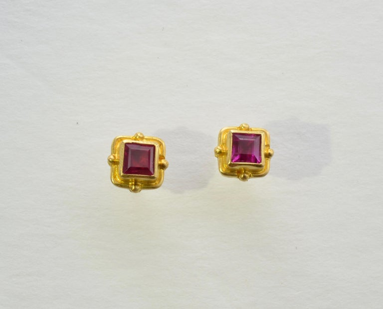 Ruby Earrings 18 Karat Yellow Gold In Excellent Condition For Sale In Berkeley, CA