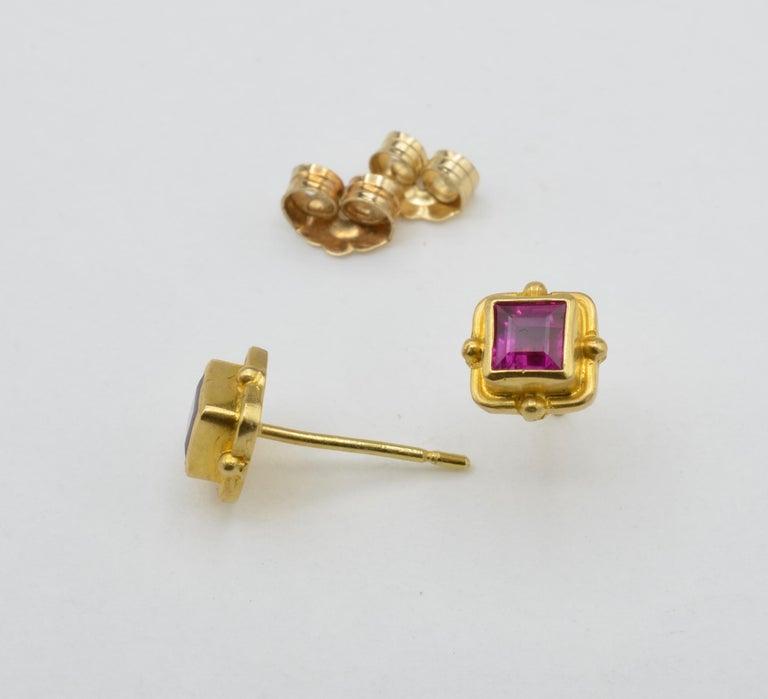 Ruby Earrings 18 Karat Yellow Gold For Sale 1
